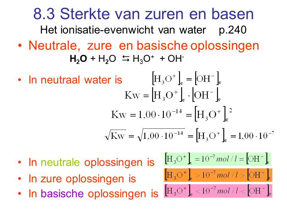 8.3 Sterkte van zuren en basen Het ionisatie-evenwicht van water p.240