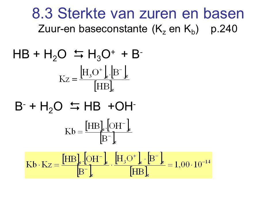 8.3 Sterkte van zuren en basen Zuur-en baseconstante (Kz en Kb) p.240