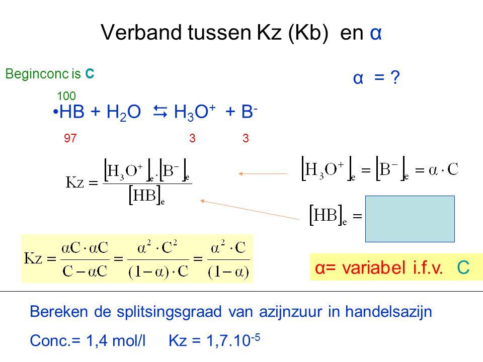 Verband tussen Kz (Kb) en α