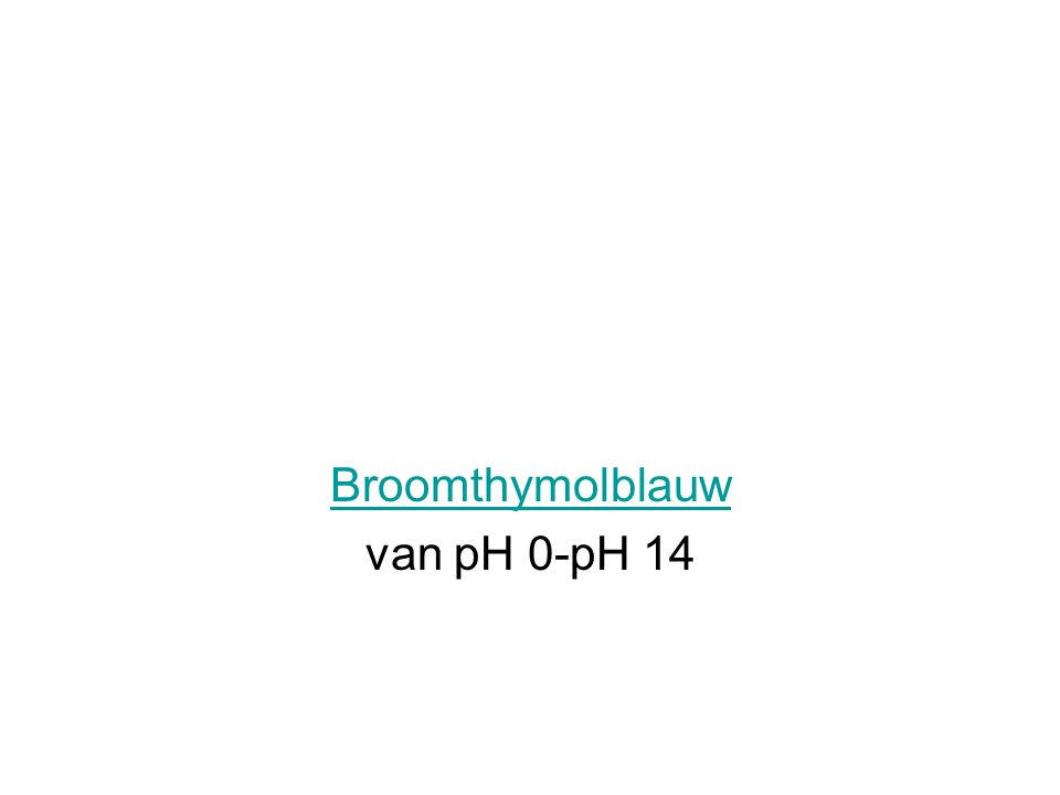 Broomthymolblauw van pH 0-pH 14