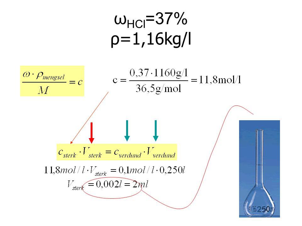 ωHCl=37% ρ=1,16kg/l