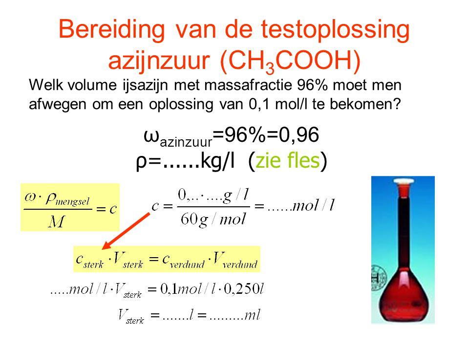 ωazinzuur=96%=0,96 ρ=......kg/l (zie fles)
