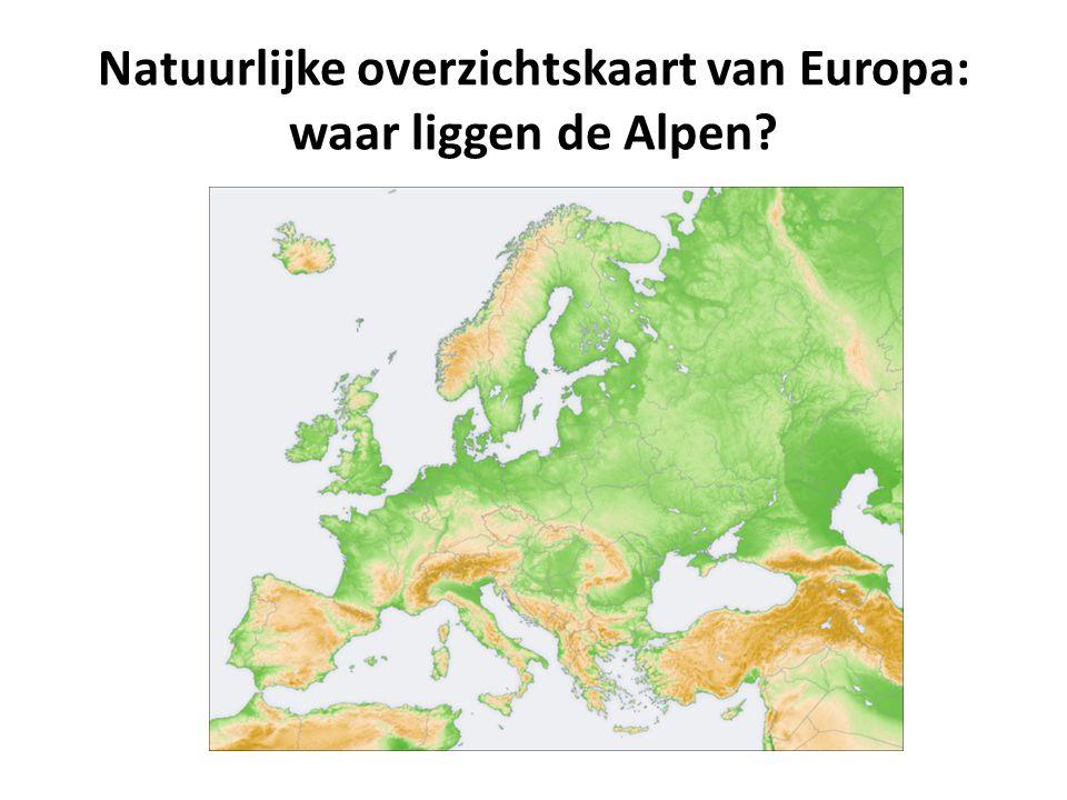 Natuurlijke overzichtskaart van Europa: waar liggen de Alpen