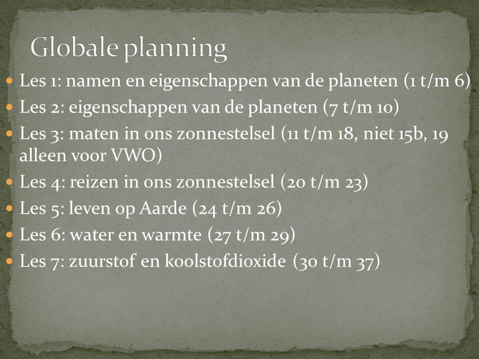 Globale planning Les 1: namen en eigenschappen van de planeten (1 t/m 6) Les 2: eigenschappen van de planeten (7 t/m 10)