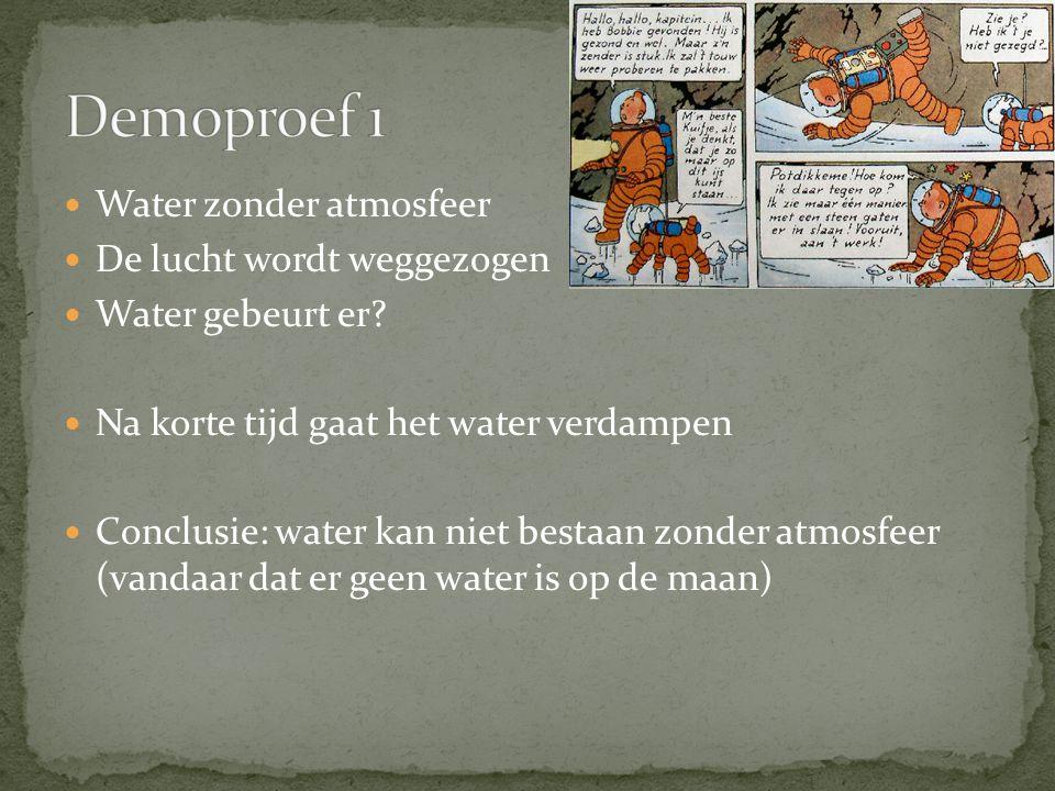Demoproef 1 Water zonder atmosfeer De lucht wordt weggezogen