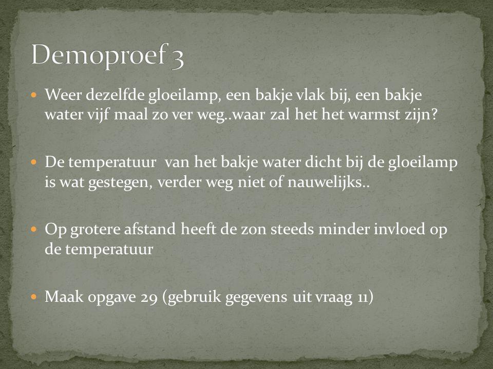 Demoproef 3 Weer dezelfde gloeilamp, een bakje vlak bij, een bakje water vijf maal zo ver weg..waar zal het het warmst zijn