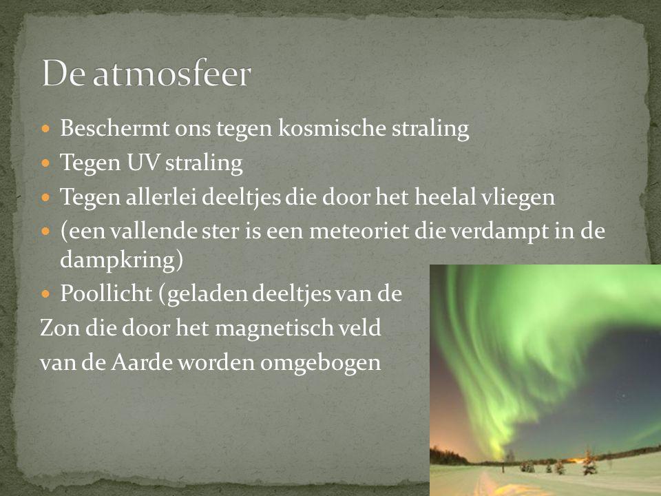 De atmosfeer Beschermt ons tegen kosmische straling Tegen UV straling