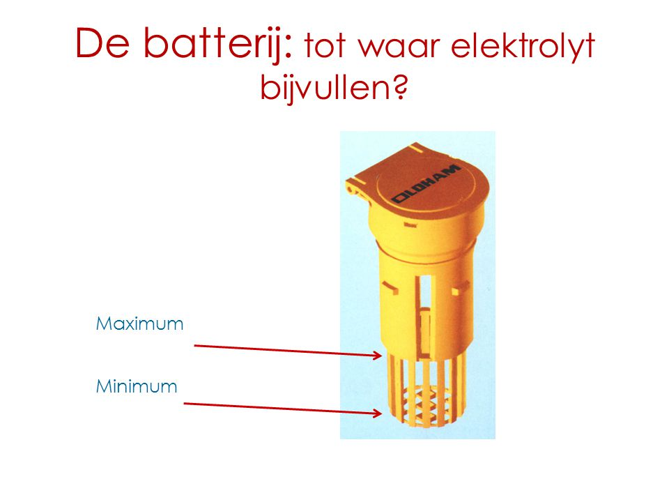 De batterij: tot waar elektrolyt bijvullen