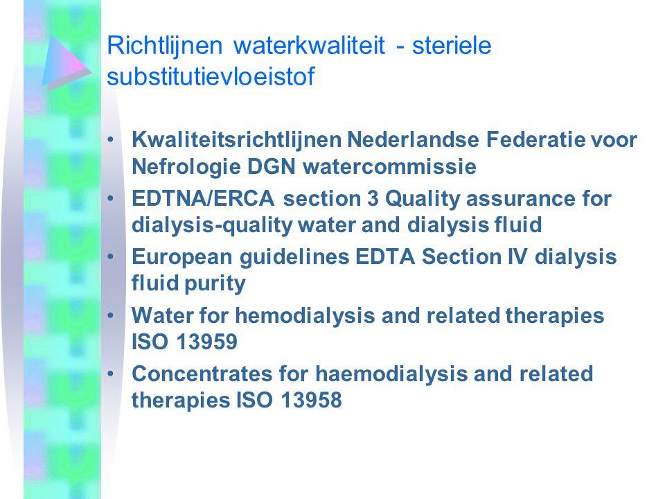 Richtlijnen waterkwaliteit - steriele substitutievloeistof