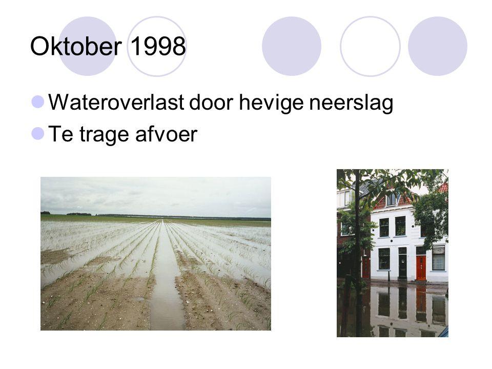 Oktober 1998 Wateroverlast door hevige neerslag Te trage afvoer