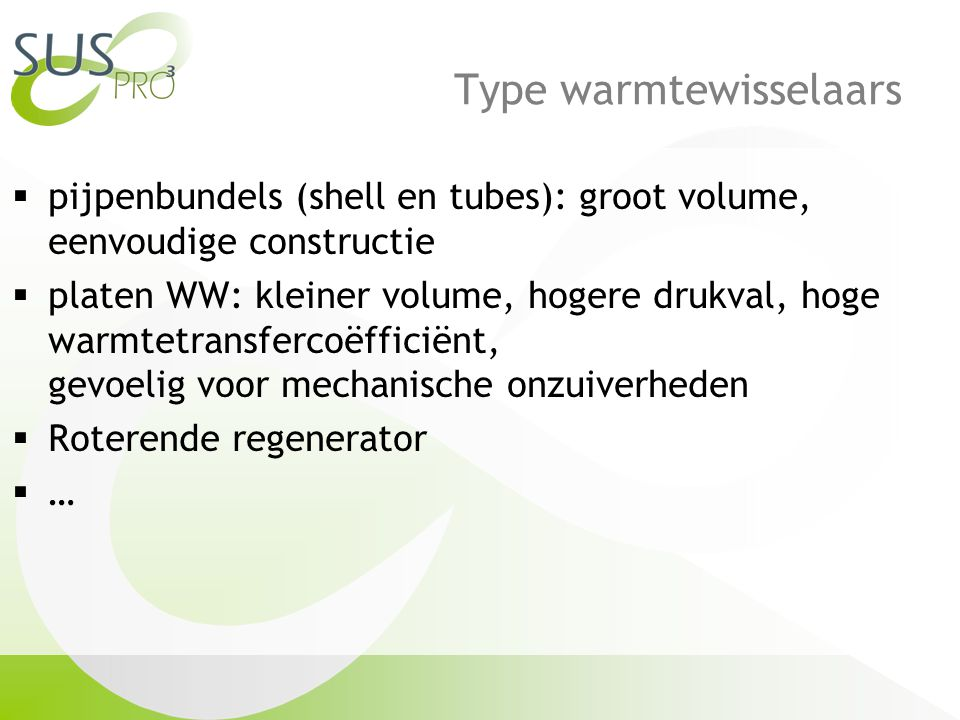 Type warmtewisselaars