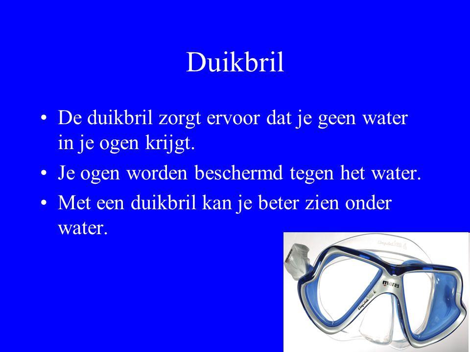Duikbril De duikbril zorgt ervoor dat je geen water in je ogen krijgt.