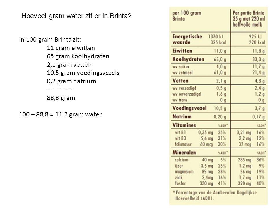 Hoeveel gram water zit er in Brinta
