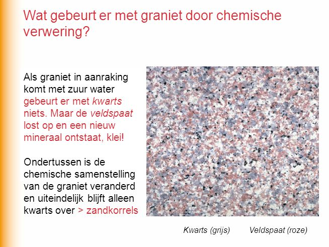 Wat gebeurt er met graniet door chemische verwering