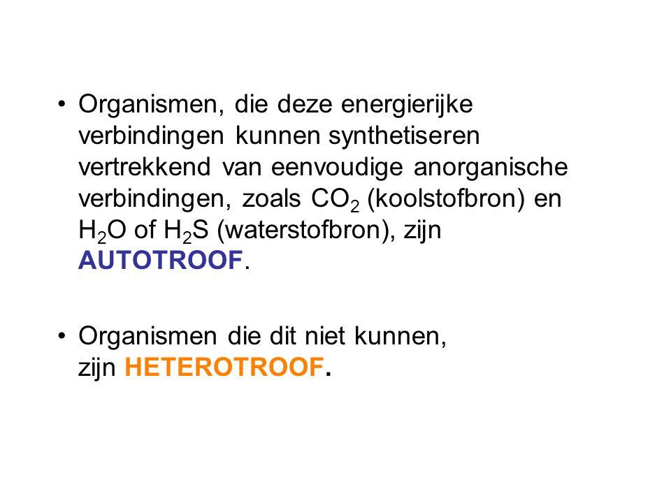 Organismen, die deze energierijke verbindingen kunnen synthetiseren vertrekkend van eenvoudige anorganische verbindingen, zoals CO2 (koolstofbron) en H2O of H2S (waterstofbron), zijn AUTOTROOF.