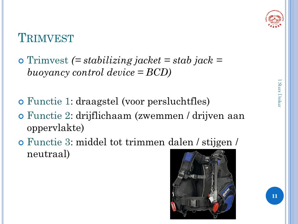 Trimvest Trimvest (= stabilizing jacket = stab jack = buoyancy control device = BCD) Functie 1: draagstel (voor persluchtfles)