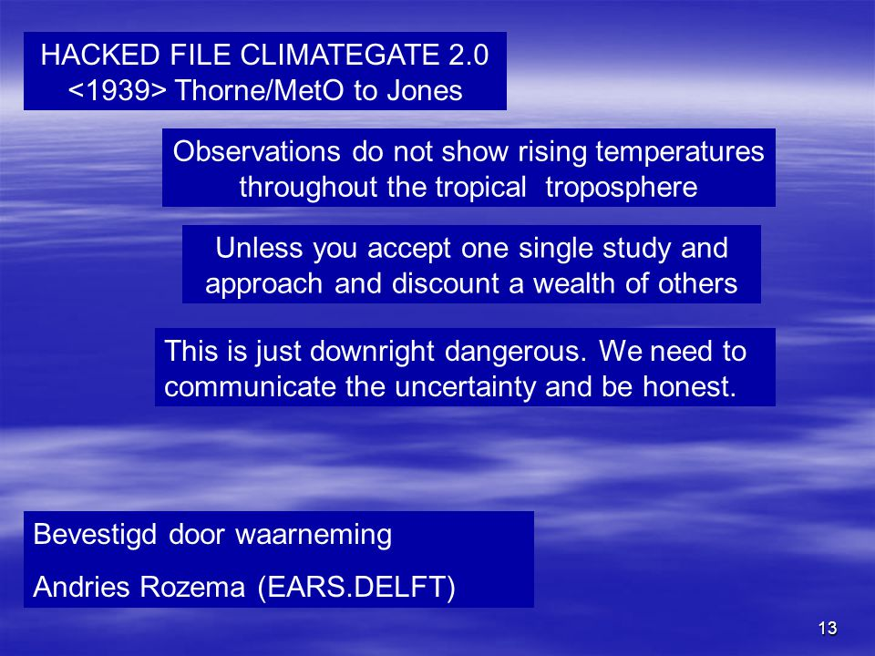 HACKED FILE CLIMATEGATE 2.0 <1939> Thorne/MetO to Jones