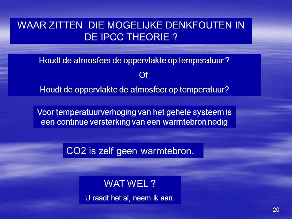WAAR ZITTEN DIE MOGELIJKE DENKFOUTEN IN DE IPCC THEORIE
