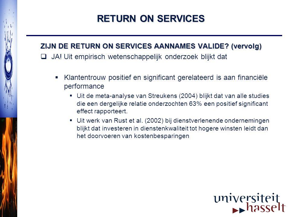RETURN ON SERVICES ZIJN DE RETURN ON SERVICES AANNAMES VALIDE (vervolg) JA! Uit empirisch wetenschappelijk onderzoek blijkt dat.