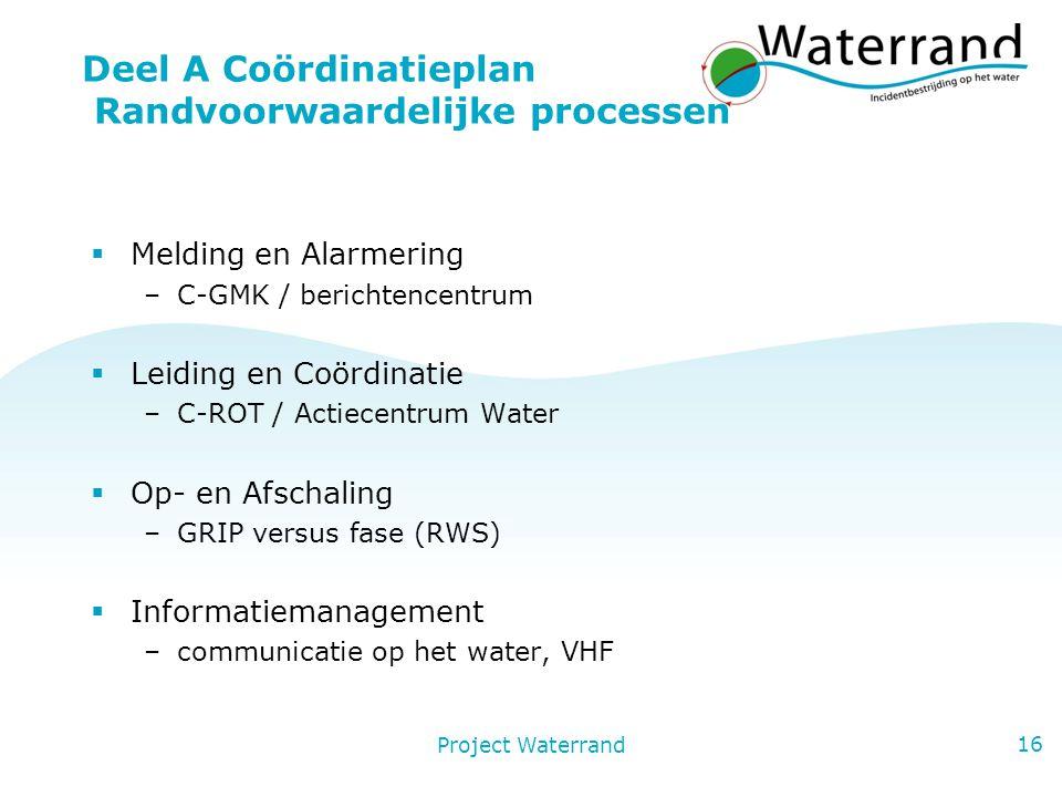 Deel A Coördinatieplan Randvoorwaardelijke processen
