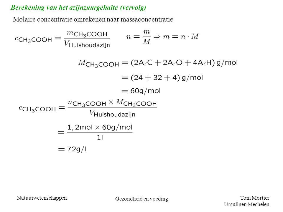 Berekening van het azijnzuurgehalte (vervolg)