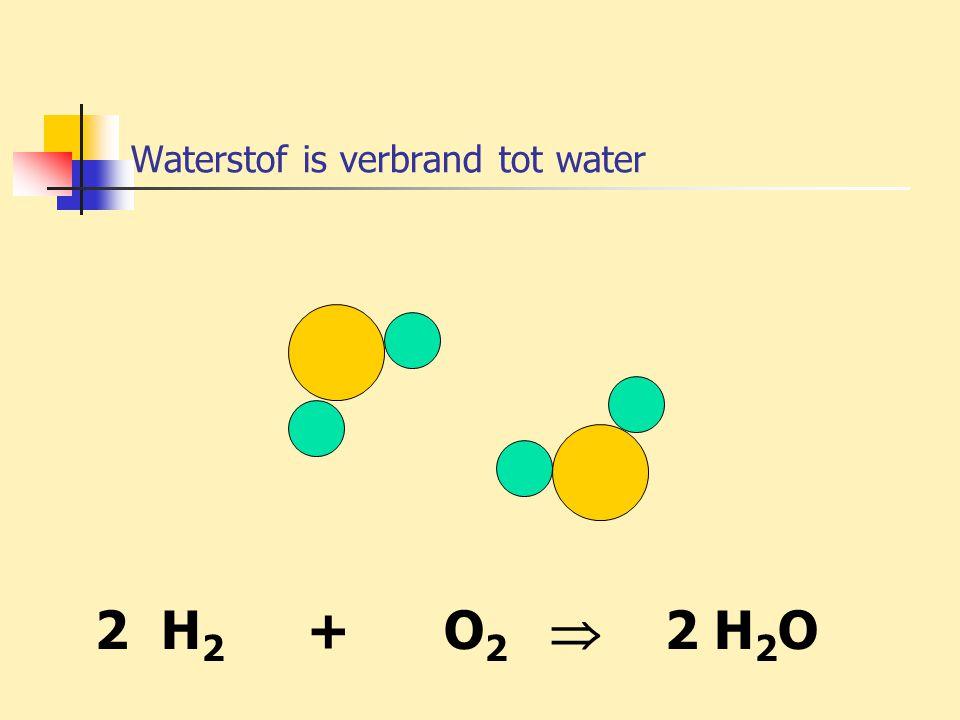 Waterstof is verbrand tot water