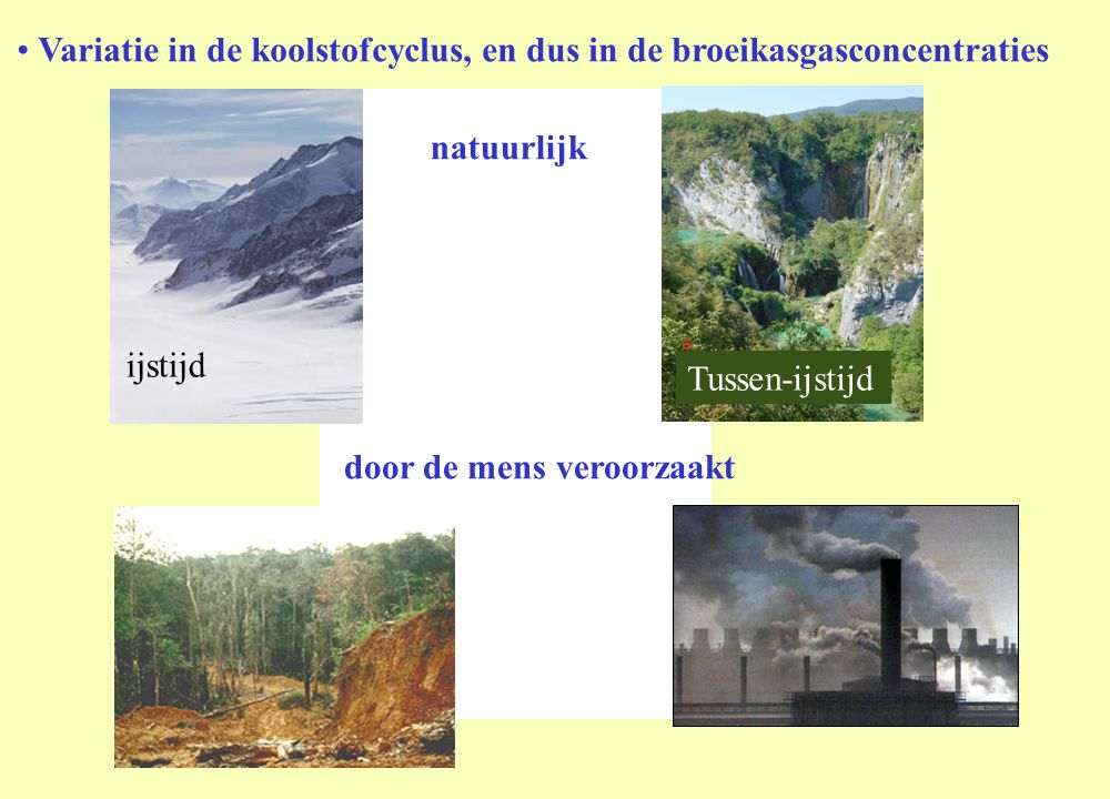 • Variatie in de koolstofcyclus, en dus in de broeikasgasconcentraties