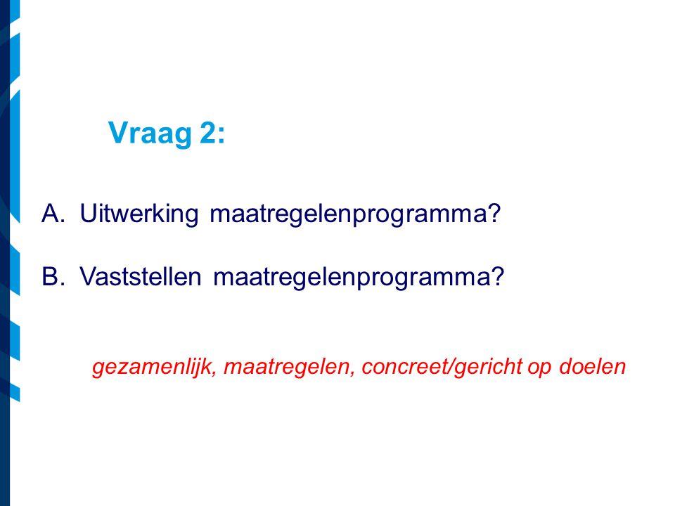 Vraag 2: Uitwerking maatregelenprogramma