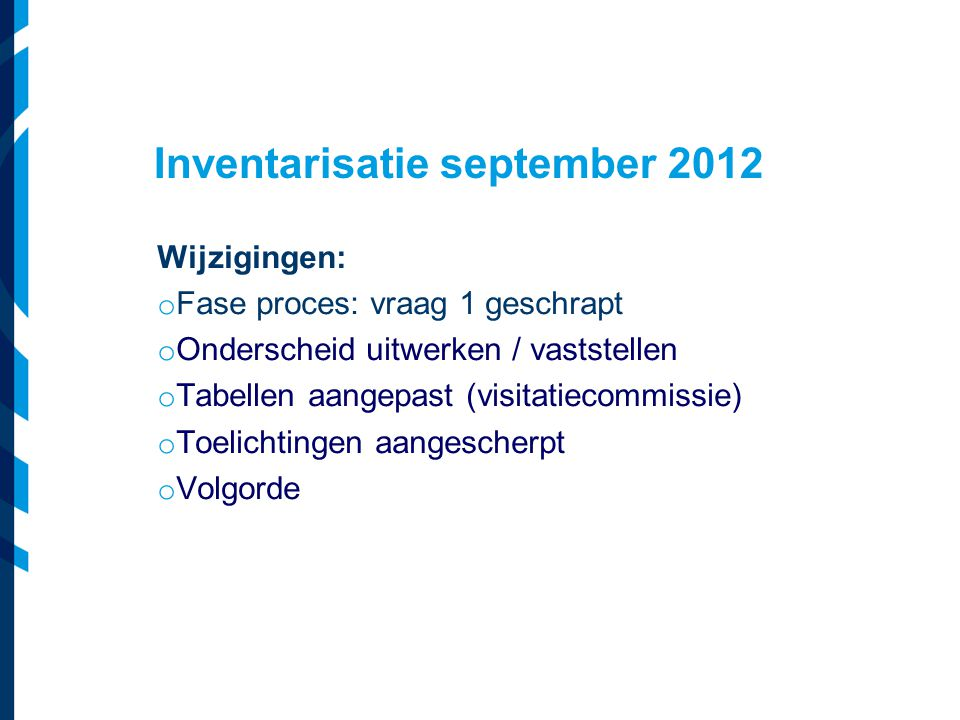 Inventarisatie september 2012