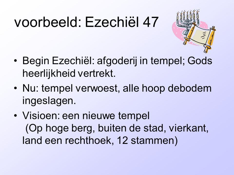 voorbeeld: Ezechiël 47 Begin Ezechiël: afgoderij in tempel; Gods heerlijkheid vertrekt. Nu: tempel verwoest, alle hoop debodem ingeslagen.