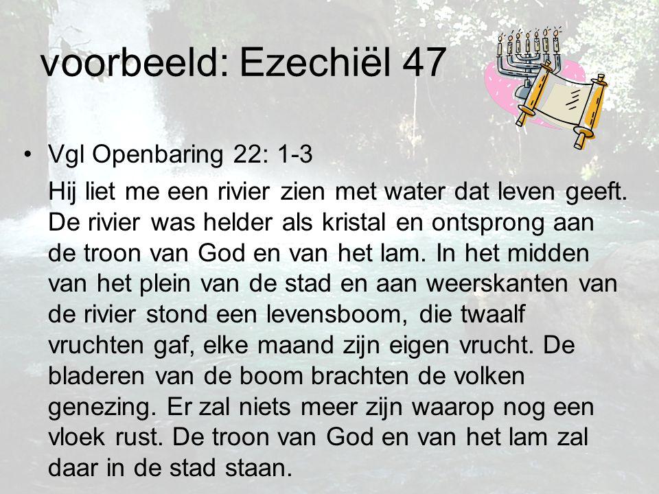 voorbeeld: Ezechiël 47 Vgl Openbaring 22: 1-3