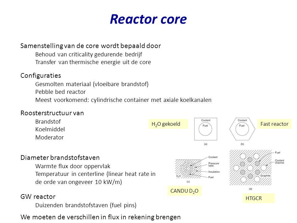 Reactor core Samenstelling van de core wordt bepaald door