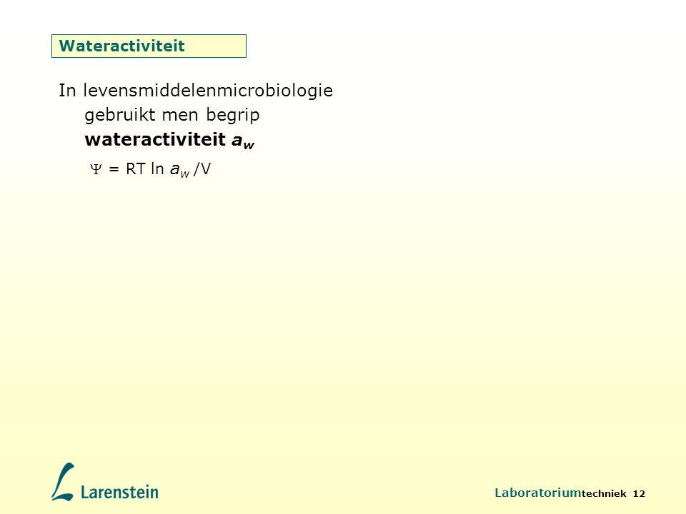 In levensmiddelenmicrobiologie gebruikt men begrip wateractiviteit aw