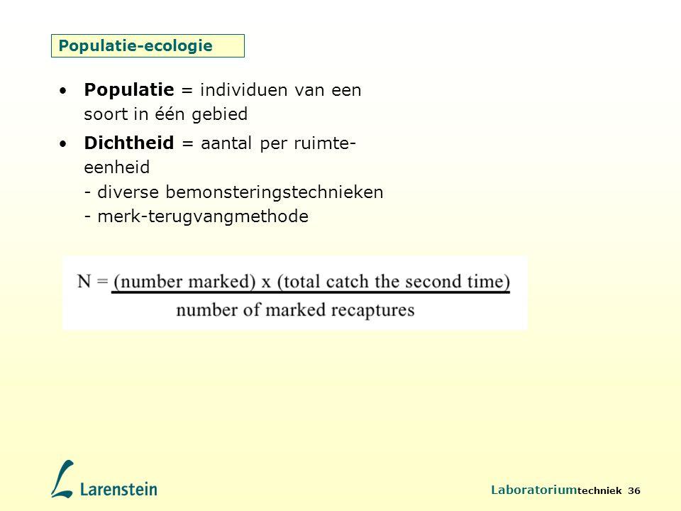 Populatie = individuen van een soort in één gebied
