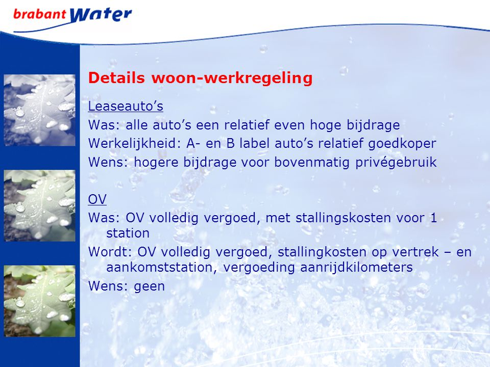 Details woon-werkregeling