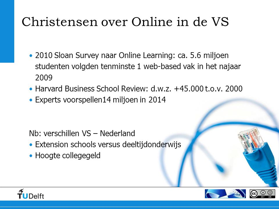 Christensen over Online in de VS