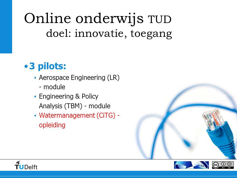 Online onderwijs TUD doel: innovatie, toegang