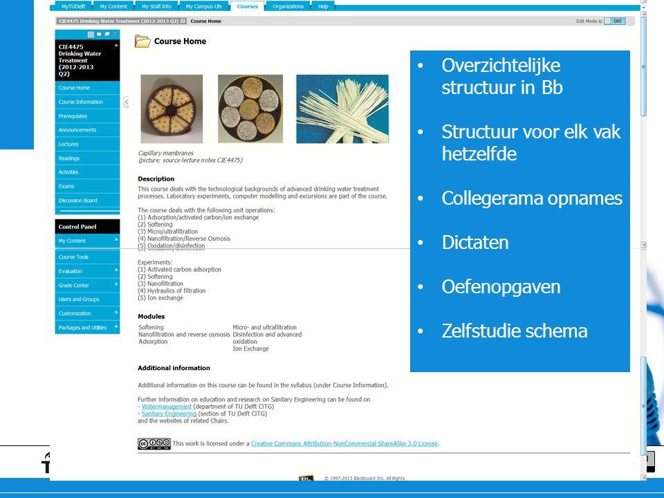 Blackboard Overzichtelijke structuur in Bb