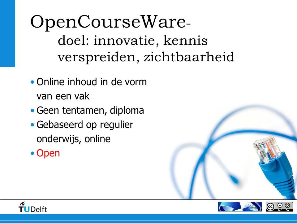 OpenCourseWare- doel: innovatie, kennis verspreiden, zichtbaarheid