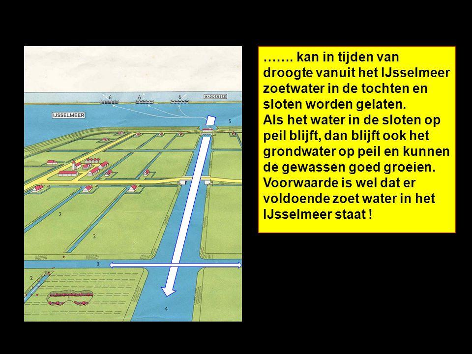 ……. kan in tijden van droogte vanuit het IJsselmeer zoetwater in de tochten en sloten worden gelaten. Als het water in de sloten op peil blijft, dan blijft ook het grondwater op peil en kunnen de gewassen goed groeien.