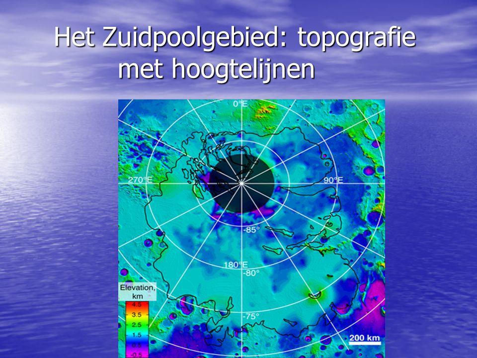 Het Zuidpoolgebied: topografie met hoogtelijnen