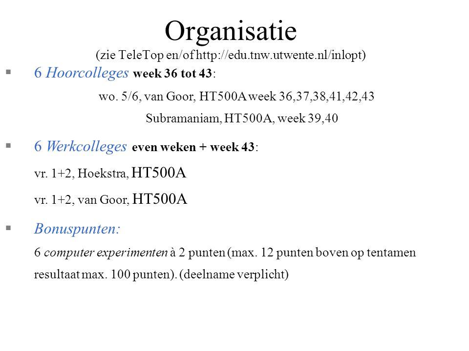 Organisatie (zie TeleTop en/of http://edu.tnw.utwente.nl/inlopt)
