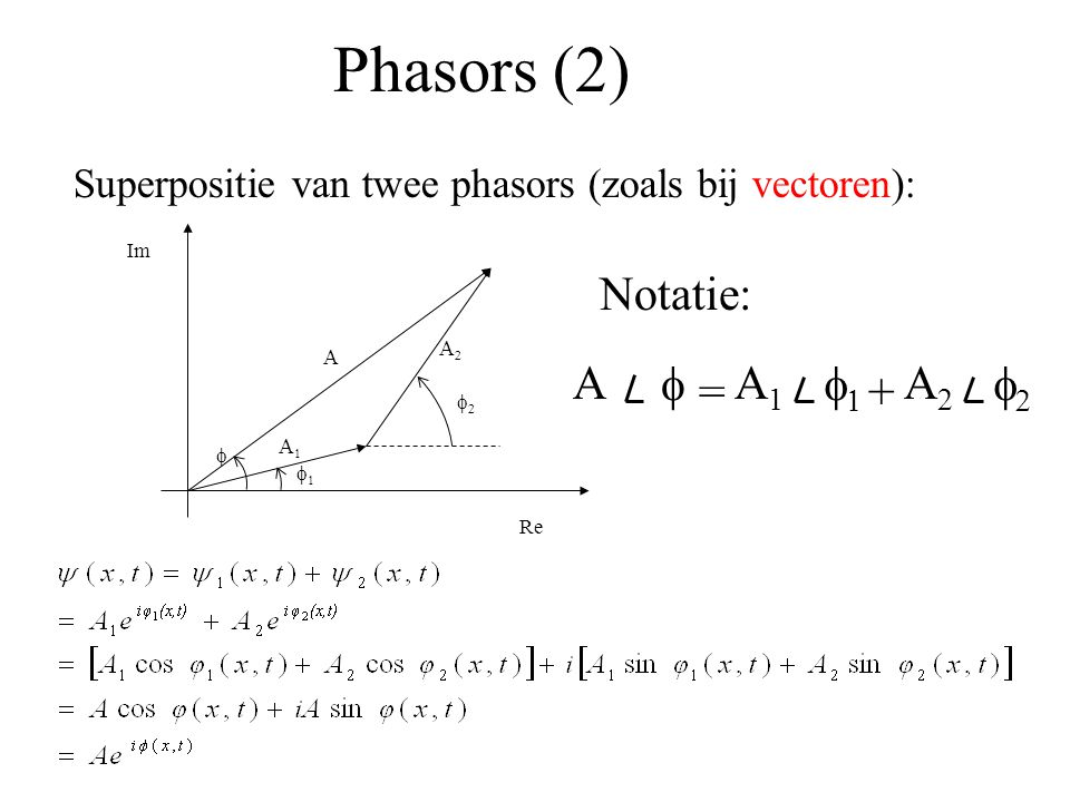 Phasors (2) Notatie: A f A1 f1 A2 f2 = +