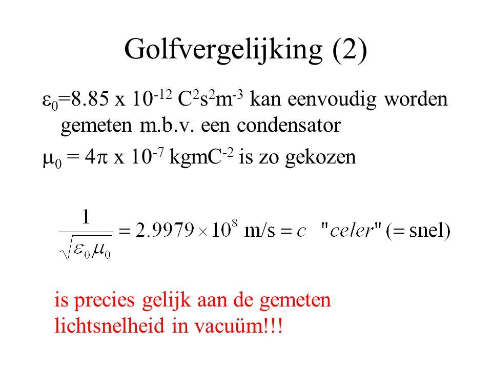Golfvergelijking (2) e0=8.85 x 10-12 C2s2m-3 kan eenvoudig worden gemeten m.b.v. een condensator. m0 = 4p x 10-7 kgmC-2 is zo gekozen.