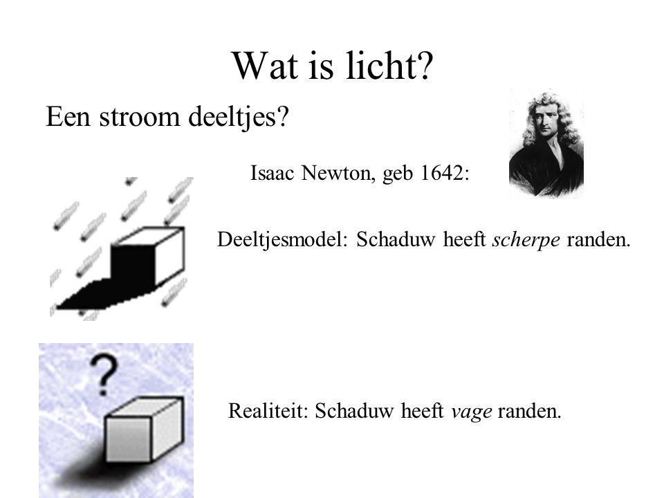 Wat is licht Een stroom deeltjes Isaac Newton, geb 1642: