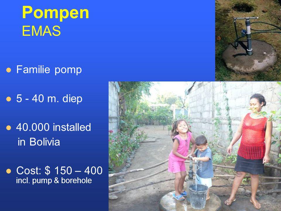 Pompen EMAS Familie pomp 5 - 40 m. diep 40.000 installed in Bolivia