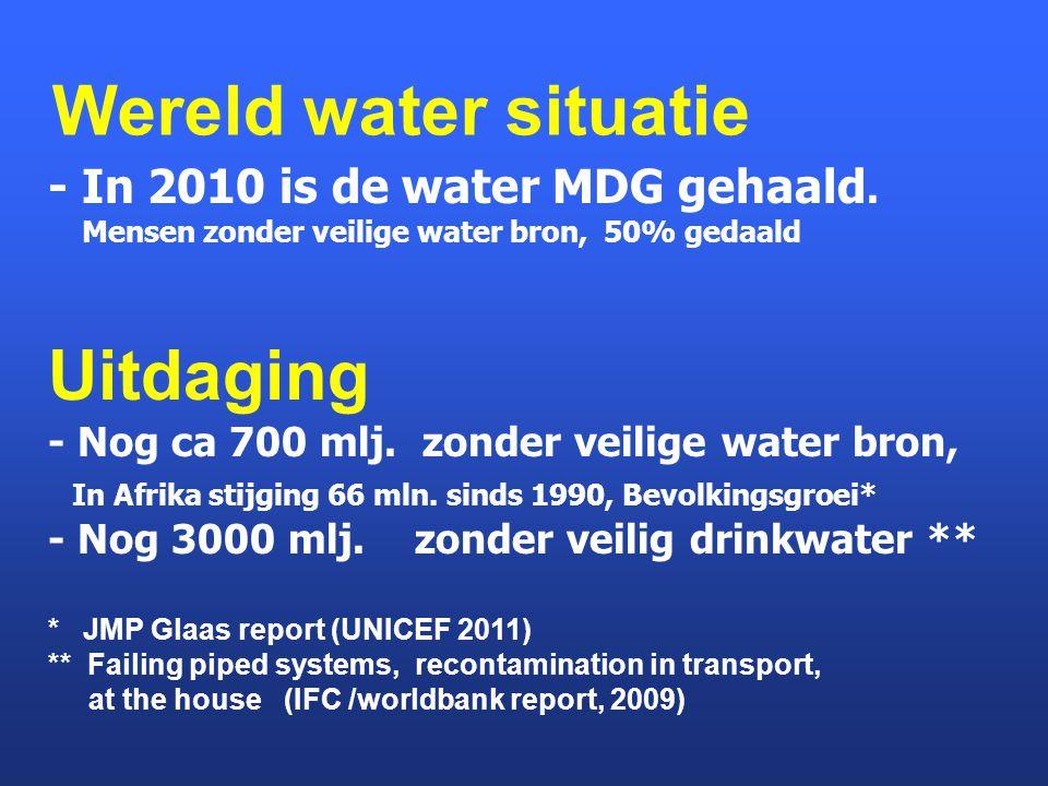 Wereld water situatie Uitdaging - In 2010 is de water MDG gehaald.