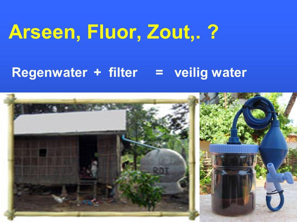 Arseen, Fluor, Zout,. Regenwater + filter = veilig water 36