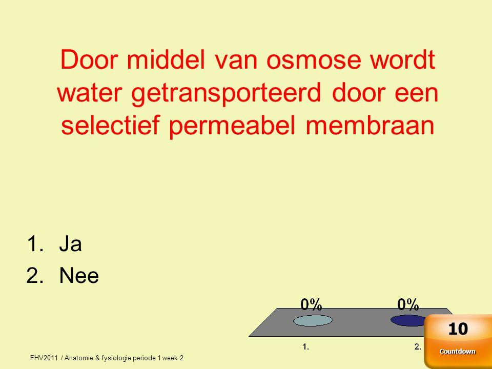 Door middel van osmose wordt water getransporteerd door een selectief permeabel membraan