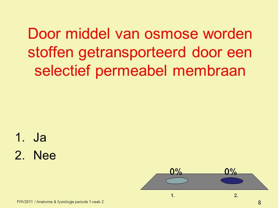 Door middel van osmose worden stoffen getransporteerd door een selectief permeabel membraan